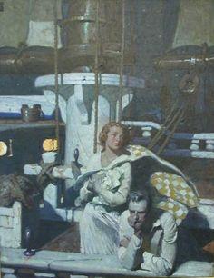 N.C. Wyeth woman and man on ship