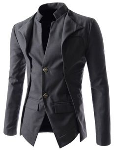 TheLees (NJK7) Mens Slim Fit Double Collar 2 Button Jacket Charcoal Medium(US Small)