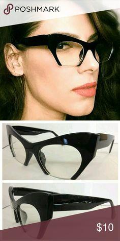 Women Fashion Glasses Brand New Women Black Cat Eye Bottomless Fashion Glasses Clear Lens Accessories Glasses