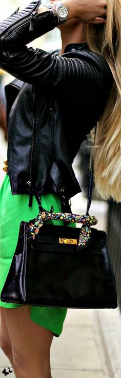 #street #style the devil's in the details : leather + electric green @wachabuy