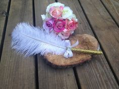 Gold feather wedding pen rustic wedding shabby chic by PineNsign