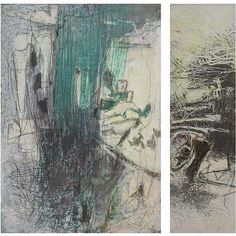 """Zvi Mairovich - Painting with Yellow Light - Diptych  (1974), Panda (oil pastels, chalk and graphite on photograph paper), 100x69x29cm, Exhibited at Tel-Aviv museum, Retrospective 1979, """"The Other Power"""" 1999"""