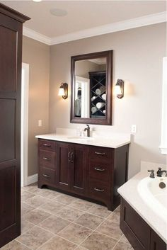 Bathroom Paint Colors With Dark Cabinets Bathroom Design Ideasis free HD Wallpaper. Thanks for you visiting Bathroom Paint Colors With Dark. Dark Cabinets Bathroom, Painting Bathroom Cabinets, Dark Bathrooms, Bathroom Furniture, Amazing Bathrooms, Oak Cabinets, Dark Wood Bathroom, Dark Brown Bathroom, Paint For Bathroom Walls
