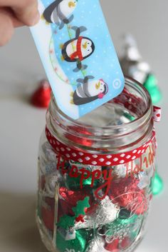Pop your gift card and some red-and-green sweets into a mason jar (a container that your pal will most definitely be thrilled to keep for her own use). Get the tutorial at Catch My Party »