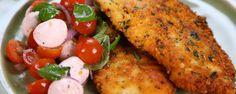 Michael Symon\'s Chicken Scallopini with Tomato Mozzarella Salad