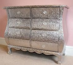 White Metal Chest of Drawer by White Metal Furniture Decor, Furniture, Painted Furniture, Bedroom Furniture, Glitter Bedroom, Glitter Furniture, Metal Chest, Bedroom Decor, Metal Furniture