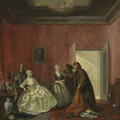 """""""The Spendthrift or the Wasteful Woman, act III, scene V, from the Play by Thomas Asselijn (Joanna and the Polish Jewish Traders),"""" Cornelis Troost, 1741; Rijksmuseum SK-A-4209"""