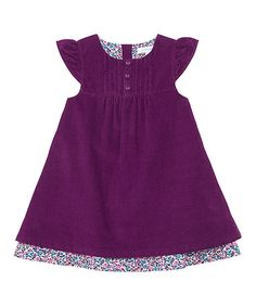 Loving this Plum Corduroy Cap-Sleeve Dress - Infant, Toddler & Girls on #zulily! #zulilyfinds