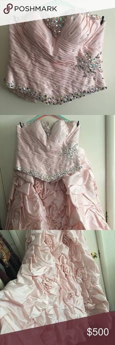 Light pink ball gown prom dress for sale! This prom dress has only been worn twice. It's a ball gown style with two pieces. The jeweled bodice has a corset back and the skirt has multiply layers underneath making it very thick and large. The brand is Disney Ball Gown and you'll truly feel like a princess when you wear this dress. It's fantastic quality and I wish I had another reason to wear it! Disney Dresses Prom