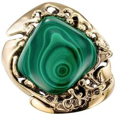 1960s Modernist Abstract Malachite Bullseye Gold Ring | From a unique collection of vintage cocktail-rings at https://www.1stdibs.com/jewelry/rings/cocktail-rings/