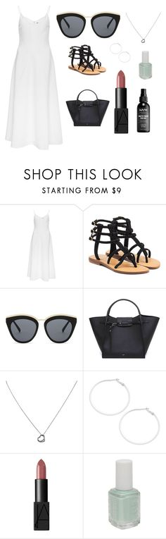 """""""Sans titre #9874"""" by yldr-merve ❤ liked on Polyvore featuring Mystique, Le Specs, CÉLINE, Tiffany & Co., Design Lab, Essie and NYX"""