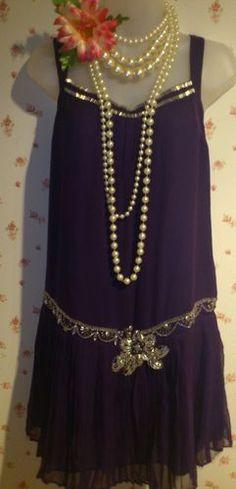 1920s Charleston Flapper Art Deco vintage purple embellished pleated dress 16 | eBay