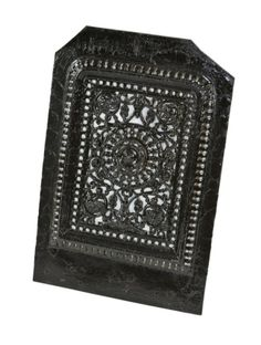 19th century American antique Victorian era ornamental pierced cast iron residential fireplace summer cover with black enameled finish. #summercover #fireplace #castiron #livingroom