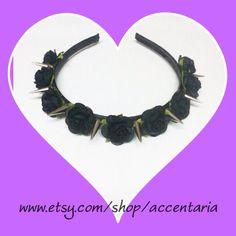 Large black rose spiked headband