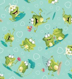 Frogland Friends by  Nidhi Wadhwa of Blue Fish Designs, for Henry Glass by NeedleandFoot on Etsy