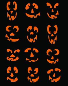 SVG-Halloween-Set 12 verschiedene Gesichter Digital Download