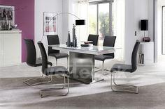 esstisch weiss hochglanz mit schwarzer glaseinlage woody. Black Bedroom Furniture Sets. Home Design Ideas