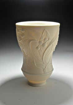 "JoAnn F. Axford- ""Lily of the Valley Yunomi"", unglazed, hand polished, porcelain http://joannaxfordpottery.blogspot.com"