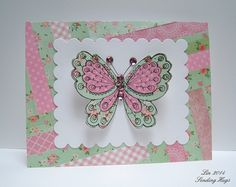Lin Brandyberry: Sending Hugs - Guest Designing at Virginia's View!! - 9/1/14  (Hero Arts: Artists Butterfly stamp)