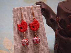 Cinnabar & Cloisonne Earrings by TheJewelster on Etsy, $18.95