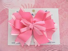 Pink and White Boutique Hair Bow