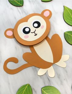 Cute Monkey Craft For Kids (With Free Printable Template) Jungle Animal Craft For Kids Animal Crafts For Kids, Crafts For Kids To Make, Toddler Crafts, Preschool Crafts, Art For Kids, Safari Animal Crafts, Preschool Jungle, Preschool Kindergarten, Monkey Crafts