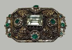 Austro Hungarian pin silverwork with gold accents.  c. 1900. http://www.perfectjewels.net/inventorypages/VSP-MM193ahpin.html