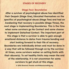 Stage four boundaries: after a survivor of psychological abuse has identified there despair, educated themselves on the specifics of psychological abuse and had an awakening that recovery is possible, the next stage is implementing boundaries. Narcissistic Mother, Narcissistic Behavior, Narcissistic Abuse Recovery, Narcissistic Personality Disorder, Narcissistic Sociopath, Emotional Healing, Emotional Abuse, Abusive Relationship, Toxic Relationships
