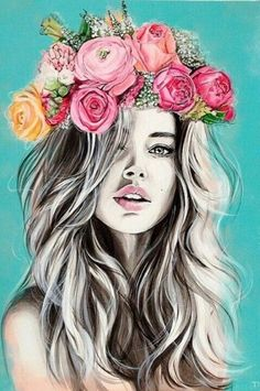 Girls with Flower Crown Drawing Girls with Flower Crown Drawing. Girls with Flower Crown Drawing. Flower Crown Girl by On Deviantart in flower crown drawing Drawings Girls With Flowers In The Hair Photography Projects, Art Photography, Fashion Photography, Flower Crown Drawing, Flower Drawings, Pop Art, Arte Fashion, Portrait Art, Portraits