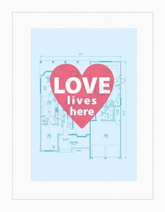 Love Lives Here Modern Print 18X24 Poster Size by moderngenes