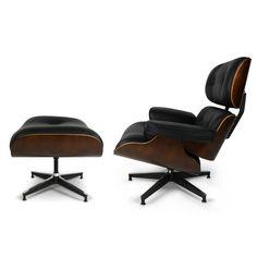 Relax Fauteuils Relax Fauteuil Charles & Ray Lounge Chair met ottoman zwart - Designstoel24.nl