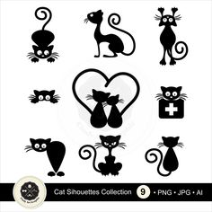 Black Cat Silhouette For Your Design Stock Vector - Illustration of eyes, kitten: 14429179 Silhouette Chat, Silhouette Portrait, Silhouette Design, Cat Silhouette Tattoos, Silhouette Images, Black Silhouette, Silhouette Cameo, Cat Clipart, Cat Crafts