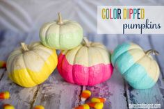 Make fun, bright and festive color dipped pumpkins in a few minutes! These are a great cheery Halloween and fall craft anyone can make! Halloween Crafts For Kids, Holidays Halloween, Halloween Pumpkins, Halloween Fun, Kids Crafts, Diy Pumpkin, Pumpkin Crafts, Pumpkin Carving, Thanksgiving Crafts