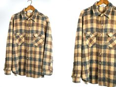 Vintage Vtg 1970's 1980's Woolrich Button Up Plaid Flannel Wool Earth Toned Unisex Adults Rustic Camping Apparel Size Medium Large by thiefislandvintage on Etsy