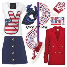 """""""Rock the Vote"""" by gabrilungu ❤ liked on Polyvore featuring Love Moschino, Magda Butrym, Golden Goose and rockthevote"""
