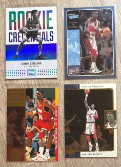 2017 John Collins RC Rookie Credentials Status Rookie Card #30 Refractor 1995 Hakeem Olajuwon UD Championship Series #10 Holo 1996 Hakeem Olajuwon UD SP #52 Holo 2001 Hakeem Olajuwon UD Ultimate Victory #20 Holo NM/M condition or better Free shipping with certified tracking Hakeem Olajuwon, John Collins, Nba Sports, Trading Cards, Victorious, Badge, Baseball Cards, Free Shipping, Badges
