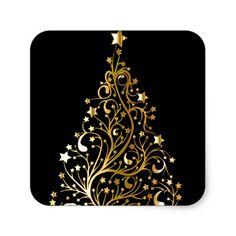 Beautiful starry metallic gold Christmas tree Square Sticker