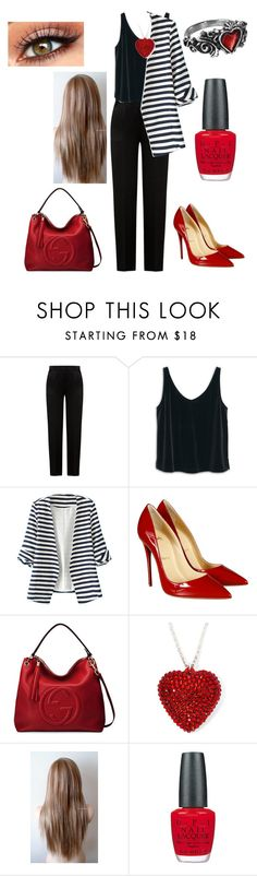 """""""meeting later"""" by vickyl01 ❤ liked on Polyvore featuring Alberta Ferretti, MANGO, WithChic, Christian Louboutin, Gucci, OPI, women's clothing, women's fashion, women and female"""