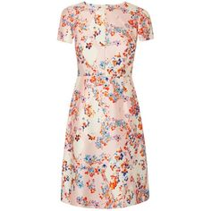 L.K. Bennett Tia Diamond Flower Dress, Peach ($220) ❤ liked on Polyvore featuring dresses, floral maxi dress, short-sleeve dresses, long-sleeve midi dresses, shift dress and pink dress