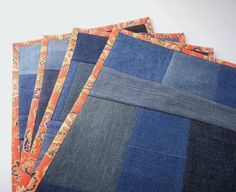 Recycled Denim Placemats - Set of 4 | SMCDesigns - Housewares on ArtFire