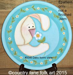 EPATTERN 0046 Daisy Bunny Plate paint your by countrylanefolkart
