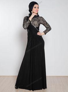 Dantel ve Taş İşlemeli Drapeli Elbise 418 - Siyah - Mileny