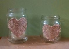 DIY Rustic Wedding Baby food jars with burlap heart each contain a citronella tea light candle Large x 6 & small x 9 (1-2 per table)