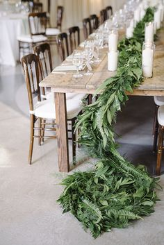 simple table garland with leafy greens + fern | tablescape | EDEN INGLE PHOTO | Nashville wedding photographer