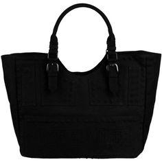 Patrizia Pepe Beachwear Large Fabric Bag (€37) ❤ liked on Polyvore featuring bags, handbags, shoulder bags, purses, sacs, bolsas, black, shoulder handbags, beach tote bags and patrizia pepe handbags