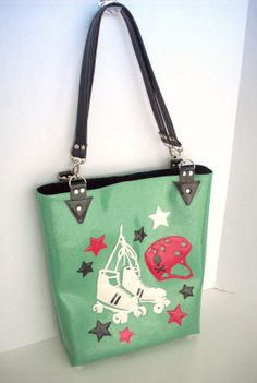Roller derby handbag Metalflake sparkle vinyl tote seafoam with roller skates, helmet and stars
