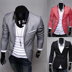 10,39$ now! Hot Men's Casual Dress Slim Fit Stylish Suit Blazer Coats Jackets 3color 4sizes