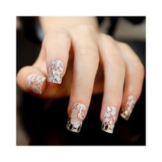 One Sheet Elegant Flower Mesh Pattern Rhinestones Nail Art Sticker ($2.40) ❤ liked on Polyvore featuring home, home decor, office accessories and rhinestone stickers