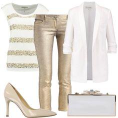 Un outfit per brillare in una serata speciale, composto da maglia in lino, pantaloni in denim color oro e giacca con maniche a 3/4. Completano il look la clutch e le décolleté in pelle.