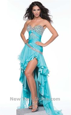 Blue high-low prom dress